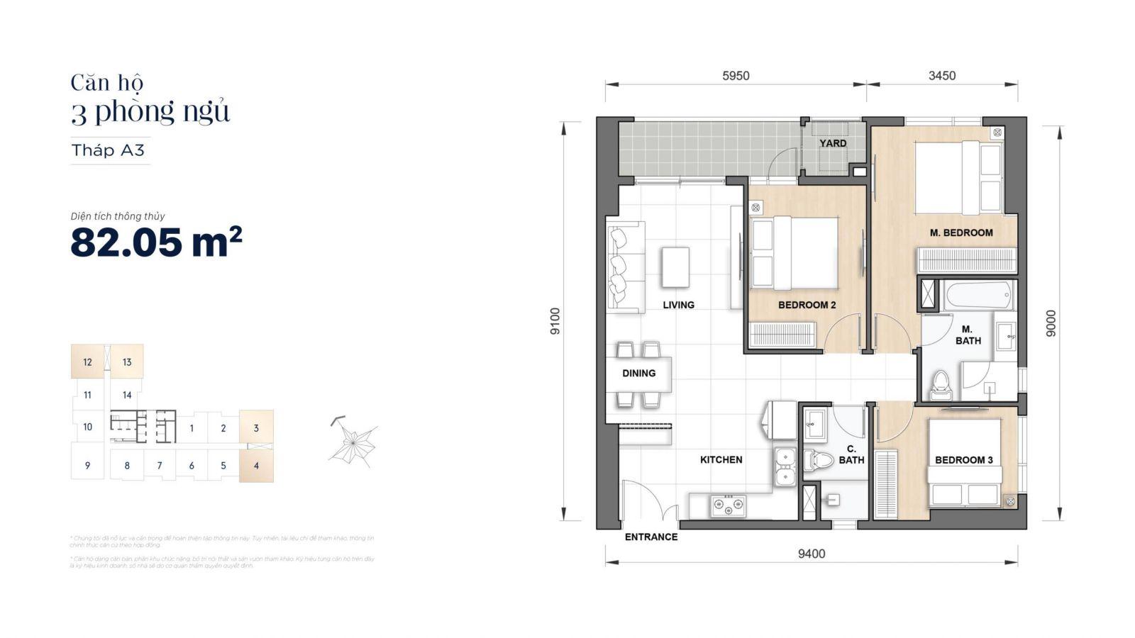 layout căn 3 phòng manhattan quận 1