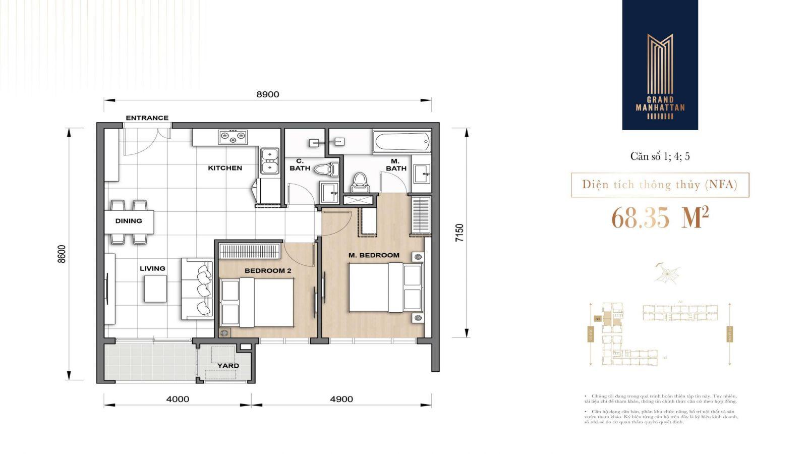 mặt bằng căn 2 phòng ngủ 68m2 manhattan quận 1