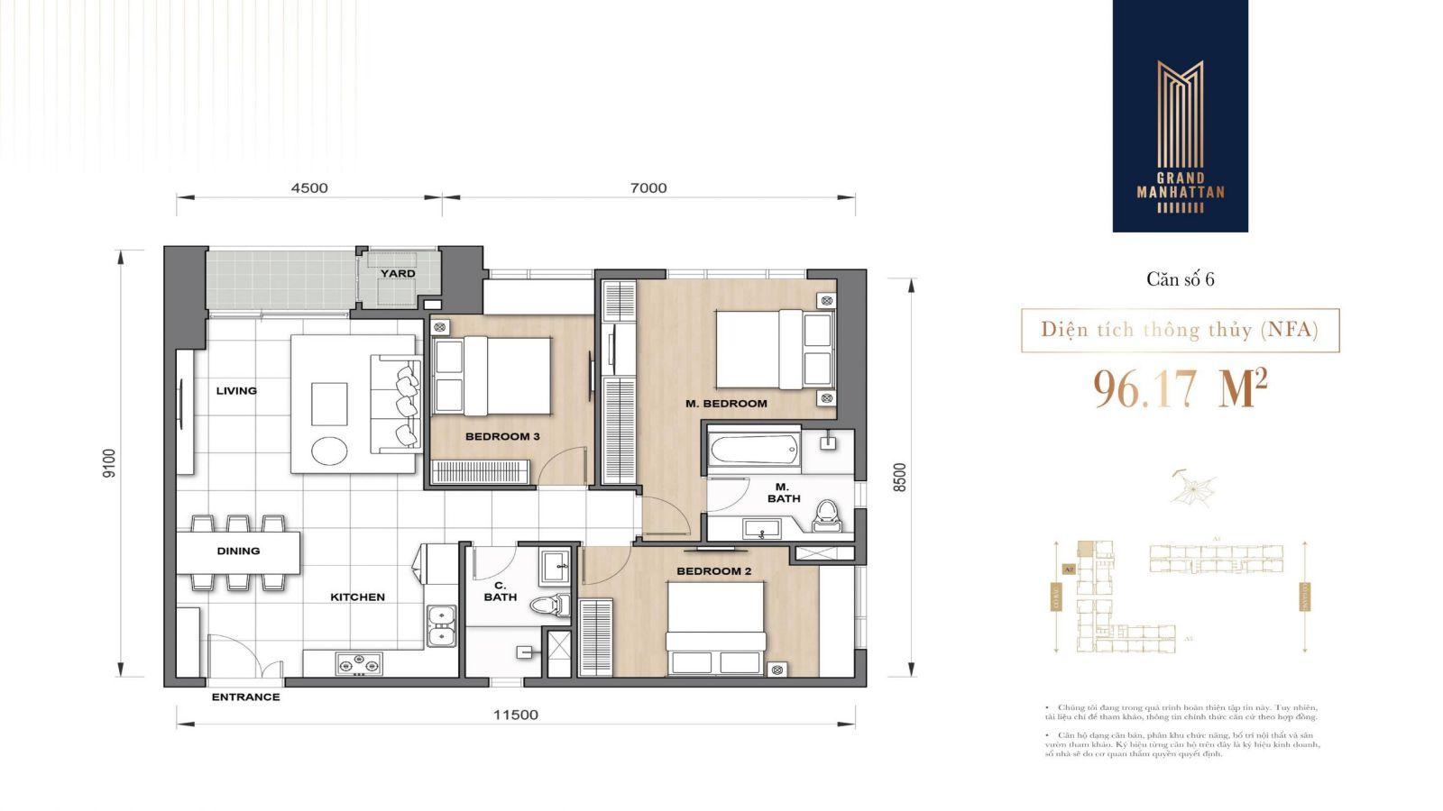 lay out căn 3 phòng 90m2 dự án manhattan quận 1