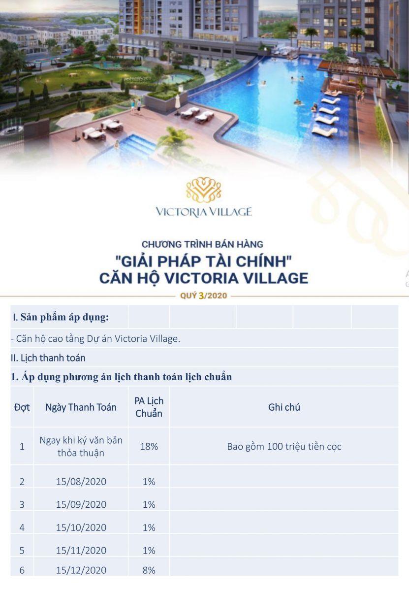 phương án thanh toán căn hộ victoria village